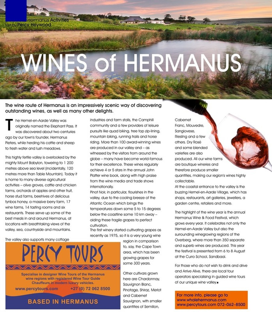 Wine Tours, wine tasting and the Hermanus wine routes